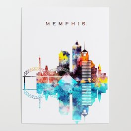 Colorful Watercolor Memphis Skyline Poster