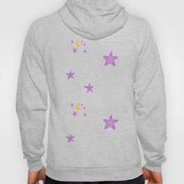 Purple plum violet stars and yellow moon by dark blue night Hoody