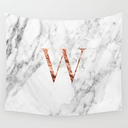 Monogram rose gold marble W Wall Tapestry