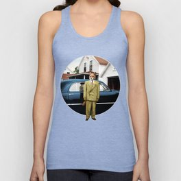 Mr. Fox posing with his new car Unisex Tank Top