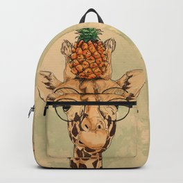 Intelectual Giraffe with a pineapple on head Backpack