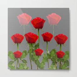 ORIGINAL GARDEN DESIGN OF RED ROSES ON GREY Metal Print