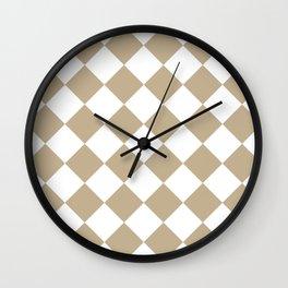 Large Diamonds - White and Khaki Brown Wall Clock