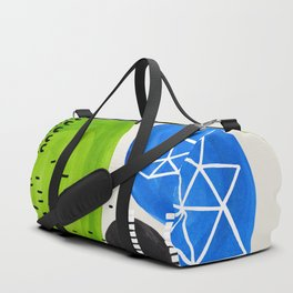 Mid Century Modern abstract Minimalist Fun Colorful Shapes Patterns Lime Green Phthalo Blue Bubbles Duffle Bag