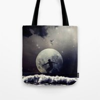surfer Tote Bags featuring Surfer by Monika Strigel
