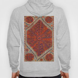 Orange Wildflower Sunshine II // 18th Century Colorful Rusty Red Bright Blue Metallic Happy Pattern Hoody