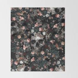 Skull and Floral pattern Throw Blanket