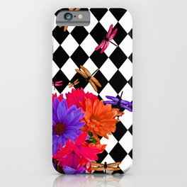 HARLEQUIN RED AND PURPLE DAISEY DRAGONFLY FUN PATTERN iPhone Case