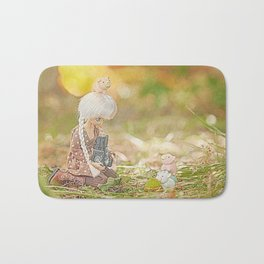 doll taking photo of cute pig and cow erasers  Bath Mat