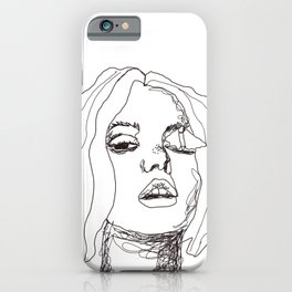 Sketch girl with butterfly | painter women | black art iPhone Case