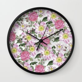 Vintage Rose Pattern Pink and White Wall Clock