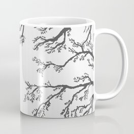 tree branches with birds and leaves on a light background Coffee Mug