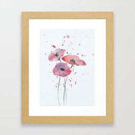 Red poppy flowers watercolor painting Framed Art Print
