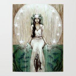 Swim Beyond // Mermaid Whale Moon Stars Sharks Ocean Sea Underwater Goddess Mother Beach B Poster