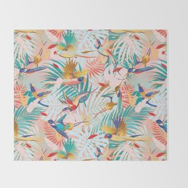 Colorful, Vibrant Paradise Birds and Leaves Throw Blanket