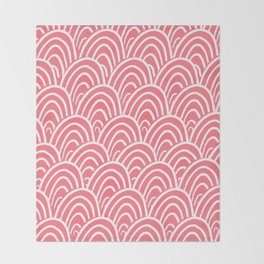 Abstract Scales (White on Pink) Throw Blanket