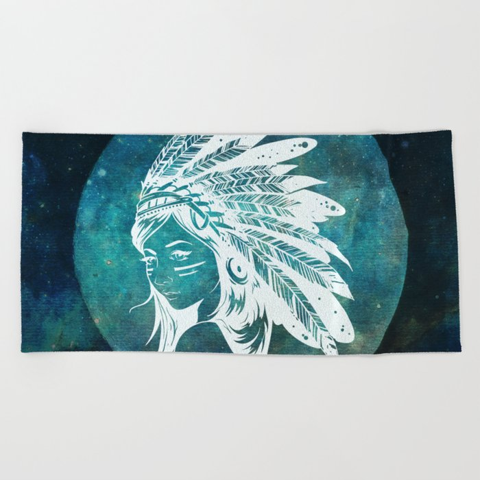 Moon Child Goddess Bohemian Girl Beach Towel