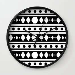 White tribal pattern Wall Clock