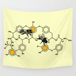 Bees making honey on macromolecular structure as a bee house  Wall Tapestry