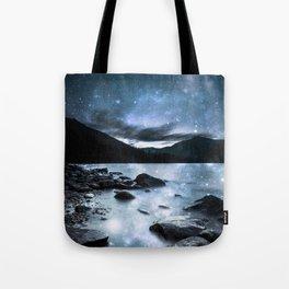Magical Mountain Lake Steel Blue Gray Tote Bag