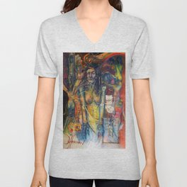 """""""Phases of Her Mind"""" - the flagship painting in the series """"Women and the Golden Rectangle."""" Unisex V-Neck"""