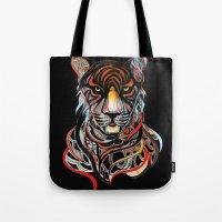 tiger Tote Bags featuring Tiger by Felicia Cirstea