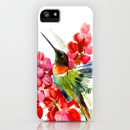Collared Inca Hummingbird and Coral Pink Flowers iPhone Case