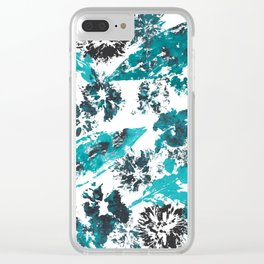 Black and Blue Floral Print Clear iPhone Case