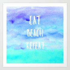 Cool eat beach repeat typography blue watercolor Art Print