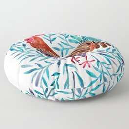 Le Coq – Watercolor Rooster with Turquoise Leaves Floor Pillow