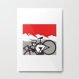 Cyclocross Athlete Running Carrying Bike Alps Retro Metal Print