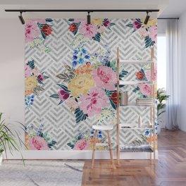 Pretty winter floral and diamond geometric design Wall Mural