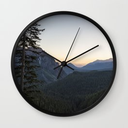Sunset at Inspiration Point in Mount Rainier Wall Clock
