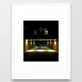 Skater Claims Strange New Location At Night Framed Art Print