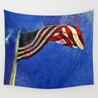 american flag Wall Tapestries featuring American Flag by Claire Bull