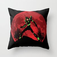 evangelion Throw Pillows featuring Neon Genesis Evangelion Unit 01 - Hill Top by kamonkey