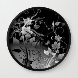 Black and White leaves and swirls Wall Clock