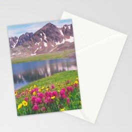Indian paintbrush/Alpine Lake below Independence Pass, Colorado Stationery Cards
