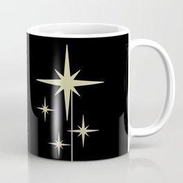 Atomic Age 1950s Retro Mid-Century Modern Starburst in Yellowed Beige on Solid Black Coffee Mug