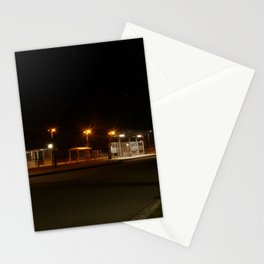Train and Bus stop in Germany by night Stationery Cards