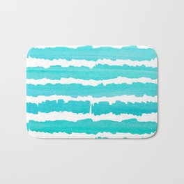 Maritime pattern- Simply aqua handpainted stripes on clear white- horizontal Bath Mat