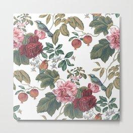 Canton Floral White Metal Print
