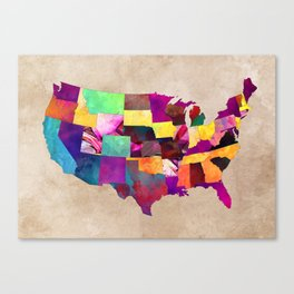 USA map art 1 #usa #map Canvas Print