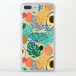 Monstera, fruits and flowers Clear iPhone Case