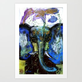 Dark Grey Elephant Original Fine Art - Rebecca Stella Art Art Print