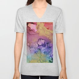 Colorful Abstract Ink Swirls with Gold Marble Unisex V-Neck