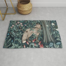 William Morris Forest Fox Greenery apestry Rug