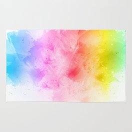 Rainbow abstract artistic watercolor splash background Rug