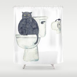 Black Cat toilet Painting Wall Poster Watercolor Shower Curtain