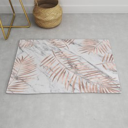 Rose gold palm fronds on marble Rug
